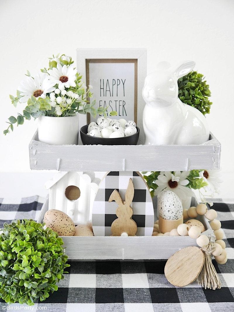 DIY Décor de Pâques avec Printables GRATUITS - des projets d'artisanat faciles pour décorer un plateau à niveaux, pour un décor de table ou la maison!