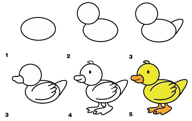 رسم بطة للاطفال