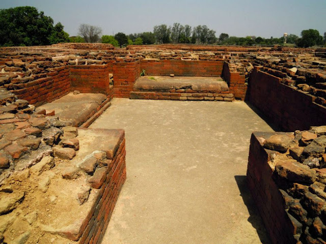 A hostel room on the second floor at Nalanda. Each room had two beds, with shelves for keeping books.