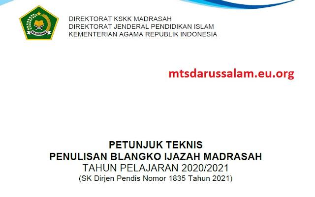 Juknis Penulisan Blanko Ijazah Madrasah TP. 2020/2021