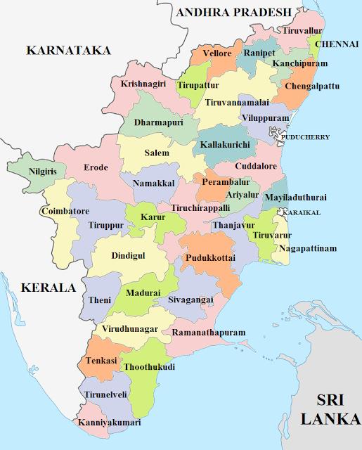 Tamilnadu districts map