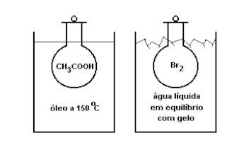 FUVEST - estados físicos da matéria, ácido acético e bromo