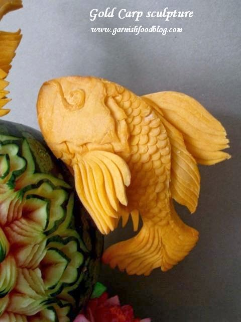 pumpkin sculpture gold carps