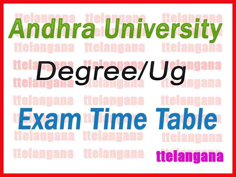 Andhra University AU UG Exam Time Table