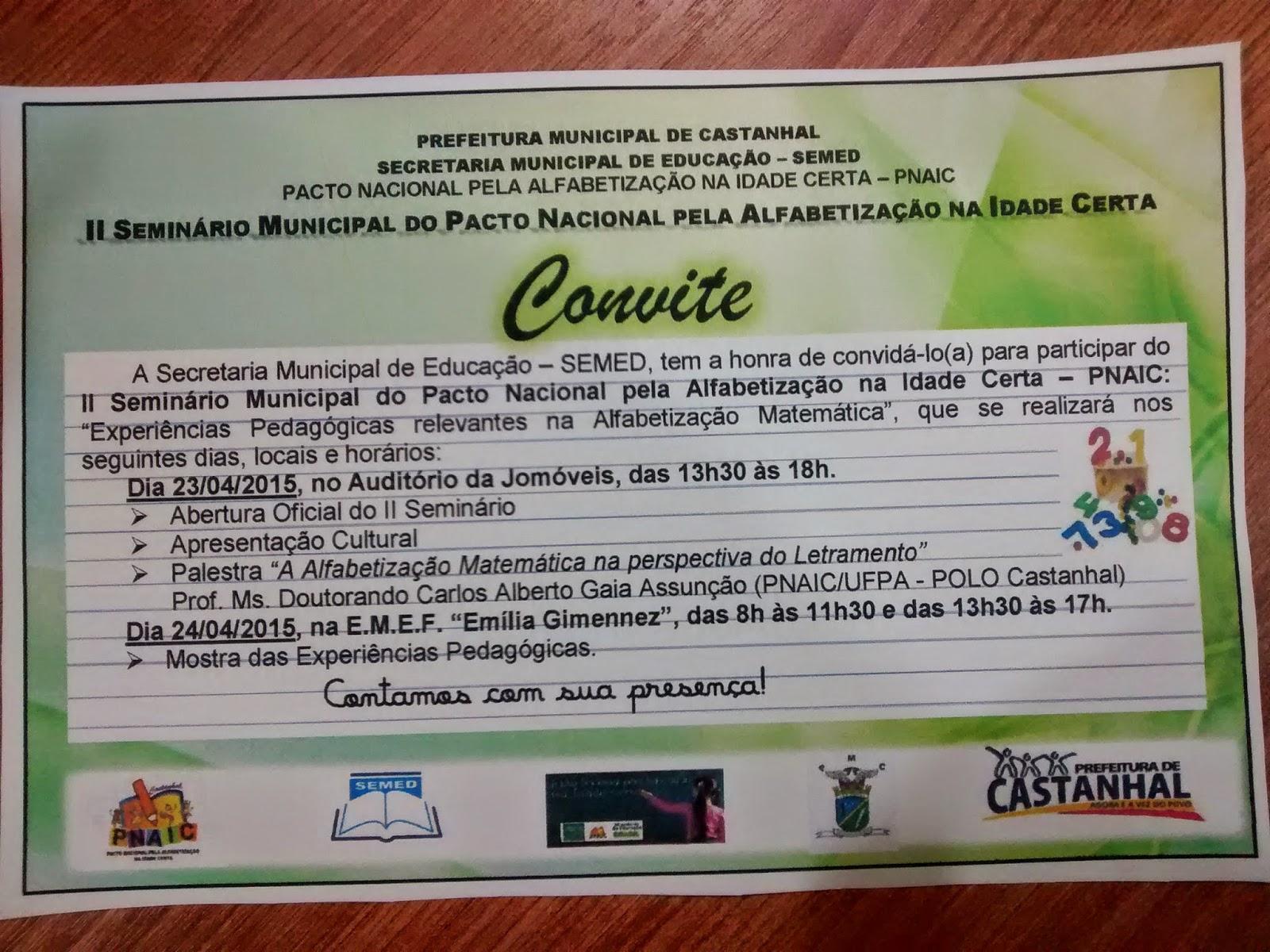 Secretaria Municipal De Educação De Castanhal Convite Ii