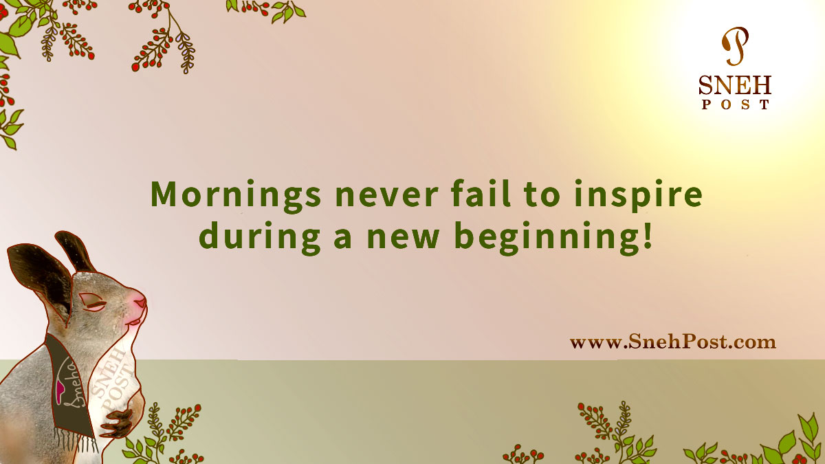 Bright of the morning as a new beginning refueler: Beautiful morning inspiration by a happy bunny cartoon illustration