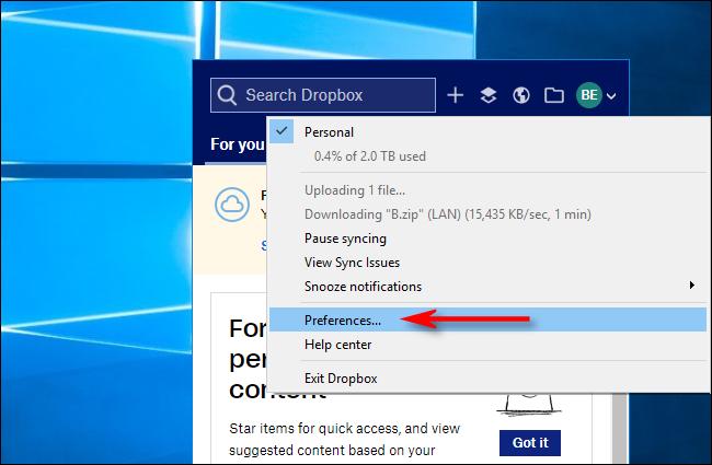 انقر فوق التفضيلات في Dropbox لنظام التشغيل Windows