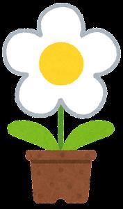 鉢植の花のイラスト(白)