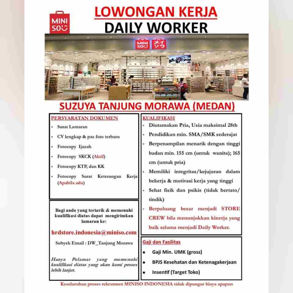 Lowongan Lowongan Kerja Miniso Medan Tamatan Sma Smk 2021
