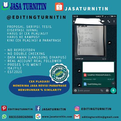 Jasa Cek Plagiarisme Turnitin Bergaransi Di Sumatera Barat