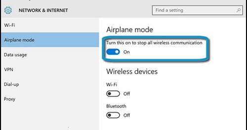 Windows 10 Turning Off Airplane Mode