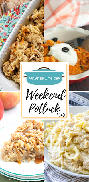 Chicken and Stuffing Casserole, Crock Pot Chicken Enchilada Casserole, Dutch Apple Pie, and Crock Pot Chicken and Noodles are featured recipes at Weekend Potluck over at Served Up With Love.
