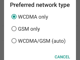 Select your network type and choose 2g/3g/4g