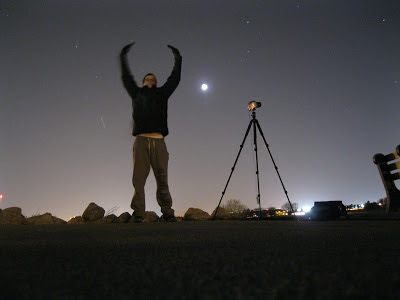 self portrait with moon at night