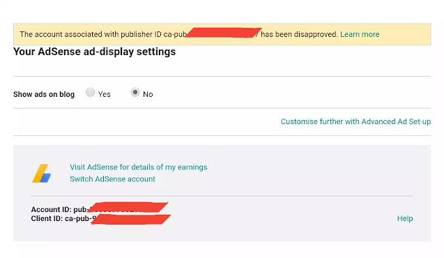 Adsense disapproved account