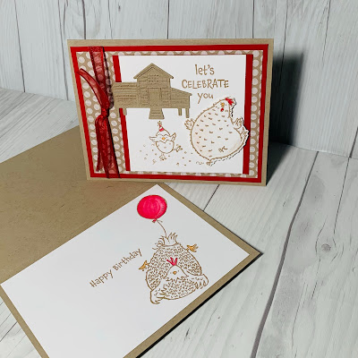 Birthday card using chicken images from the Stampin' Up! Hey Birthday Chick Stamp Set