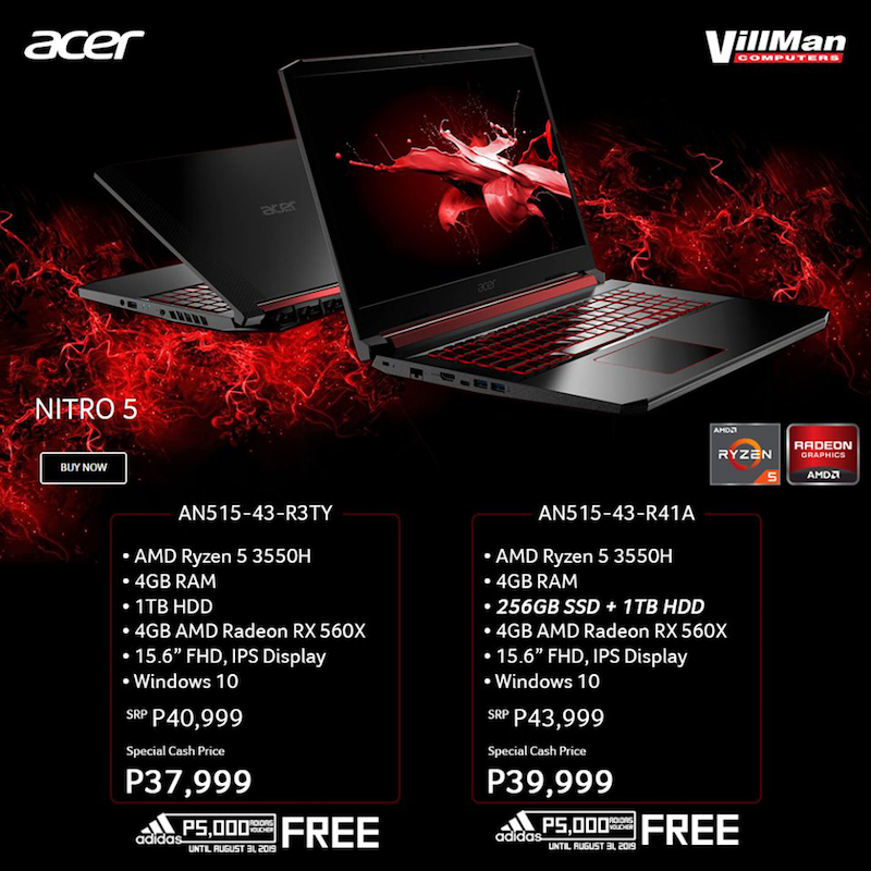 Buy Acer Nitro 5 at Villman and get FREE PHP 5K worth of Adidas voucher until August 31