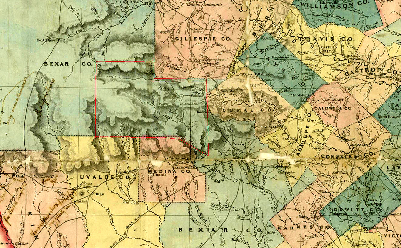 map of the area around 1850 note bandera pass on the map