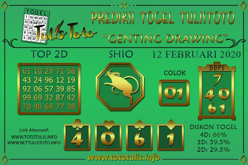 Prediksi Togel GENTING DRAWING TULISTOTO 12 FEBRUARI 2020