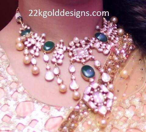 Emerald Polki Pearls Necklace