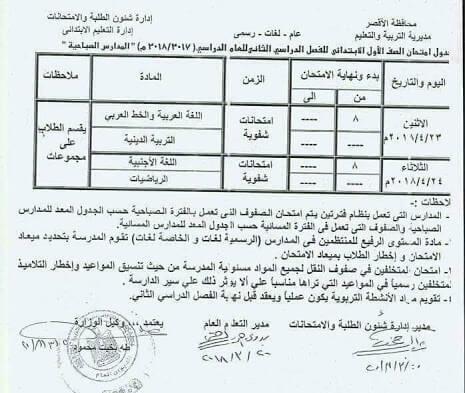 جدول امتحانات الصف الأول الابتدائي الترم الثاني 2018 محافظة الاقصر
