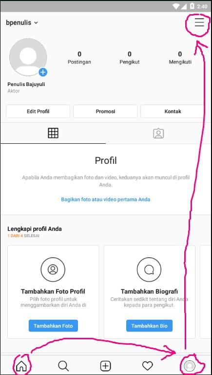 Menu Lainnya di Halaman Profile Akun Instagram.