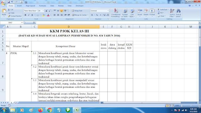 Download Contoh KKM K13 Kelas 3 SD Kurikulum 2013 Terbaru