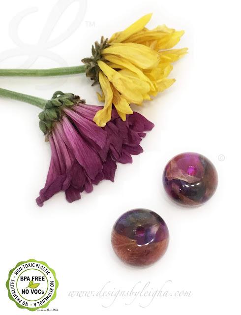 Purple & Yellow Daisy Flower Memorial Beads