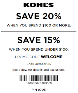 Kohls coupon 20% OFF $100+ OR 15% OFF any purchase