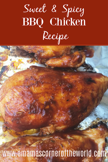 pinnable image for a sweet & spicy bbq grilled chicken recipe