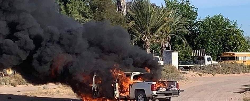 Grupos del Narco se enfrentan en Sonora, localizan las trocas abandonadas, baleadas y quemadas