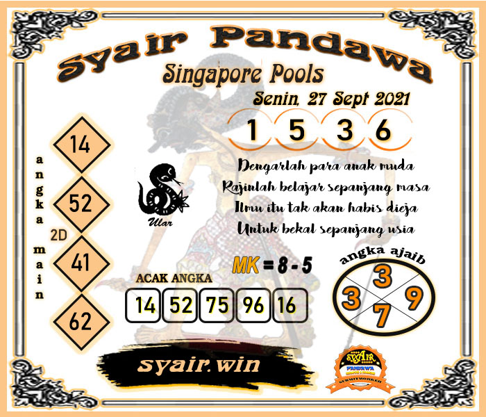 Syair Pandawa Sgp Senin 27 September 2021