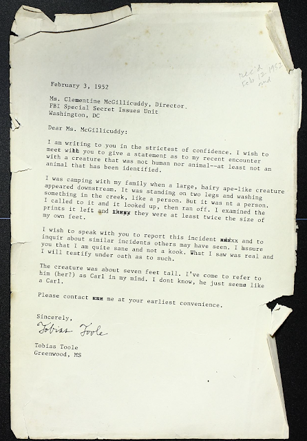 Faked old letter dated february 3 1952 from Tobias Toole to Clementine McGillicuddy Director of the FBI special secret issues unit about the existence of a sasquatch named carl