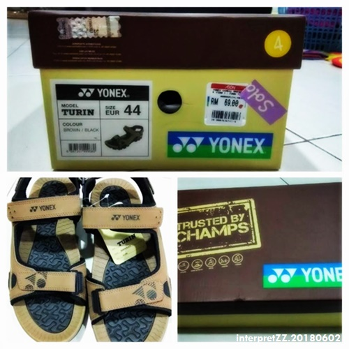 Collage image of Yonex brand sandals Turin model owned by Master. # 4, COLOR BROWN/BLACK, MODEL TURIN, SIZE EUR 44, Sold, TRUSTED BY CHAMPS, TURIN, XS YONEX, XY YONEX, YM F RM 69.00, YONEX # Sunday, 3 June 2018, 23:14 # 20180603_231441-COLLAGE. jpg #