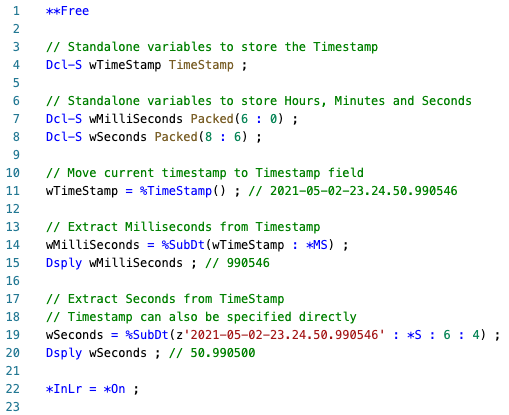 Extract Seconds and Milliseconds from Timestamp using %SUBDT - RPGLE