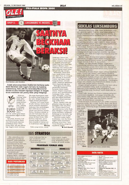 EURO 2000 QUALIFIER LUXEMBURG VS ENGLAND DAVID BECKHAM