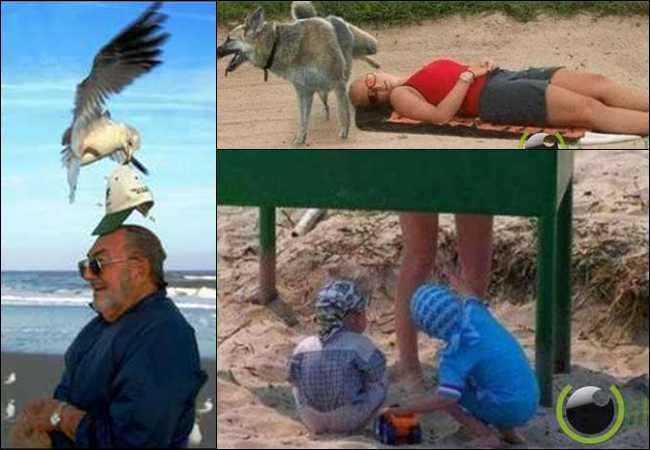 10 Foto Kejadian Lucu Orang yang sedang Berlibur di Pantai