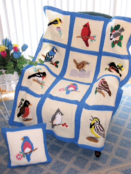 Songbird Afghan and Pillows - Knit Pattern