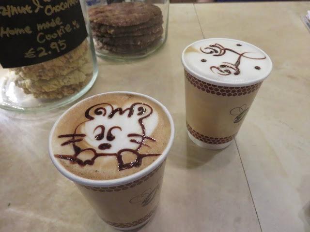 Latte art at Beanhive Coffee on Dawson Street in Dublin Ireland