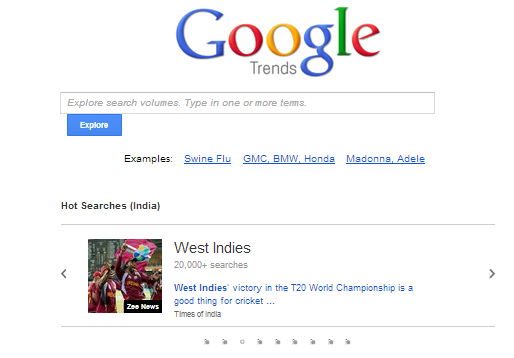 Google Trends, traffic source