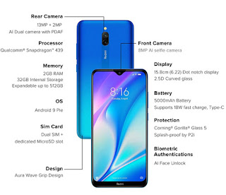 Redmi 8A Dual (Sea Blue 3GB RAM 32GB Storage)