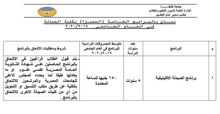 شروط ومصروفات برامج جامعة طنطا للعام الدراسي الجديد 124