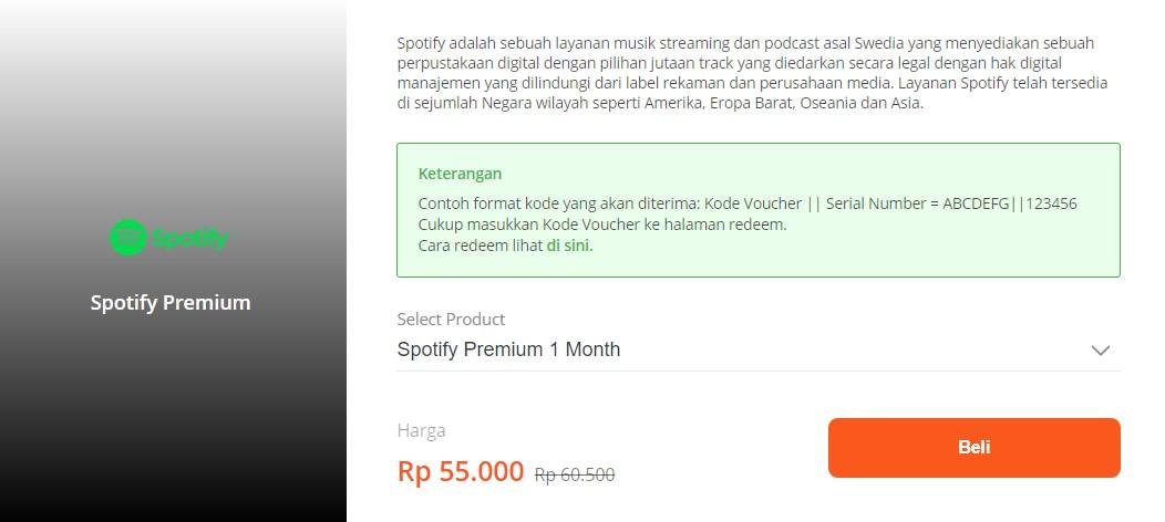 Syarat dan ketentuan Spotify premium di Tokped