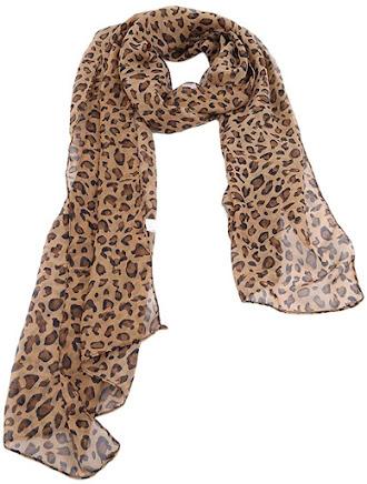 Elegant Leopard Pattern Sheer Chiffon Scarf