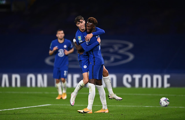 Kai Havertz celebrates with Tammy Abraham after scoring a hattrick against Barnsley in the Carabao cup