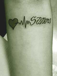 Heart beat sister tattoos love