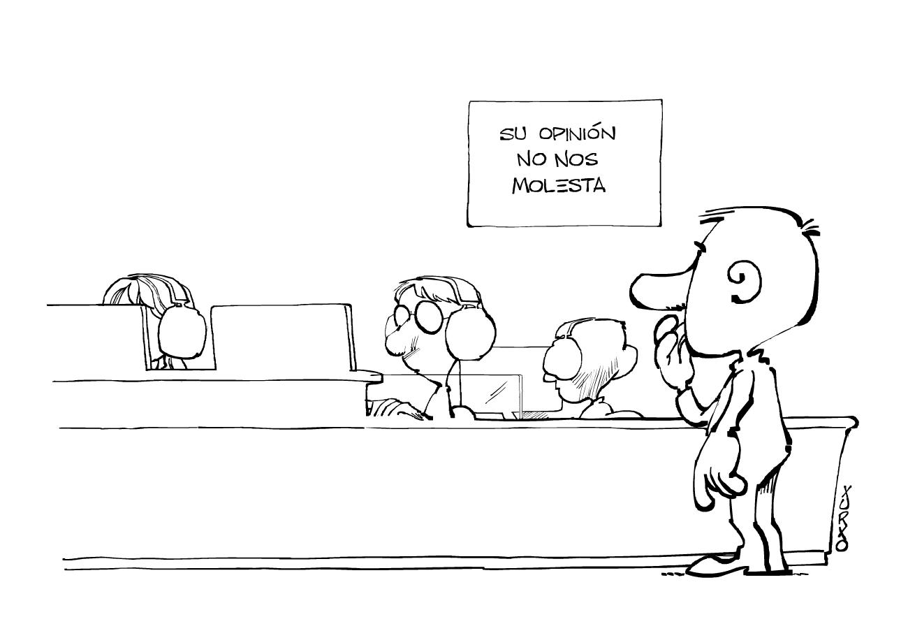 un hombre tratando de poner un reclamo en una oficina