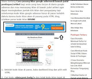 Cara Pasang Kode Iklan AdSense Di Tengah Postingan Artikel