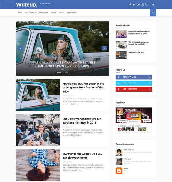 WriteUp – Blog, News & Magazine