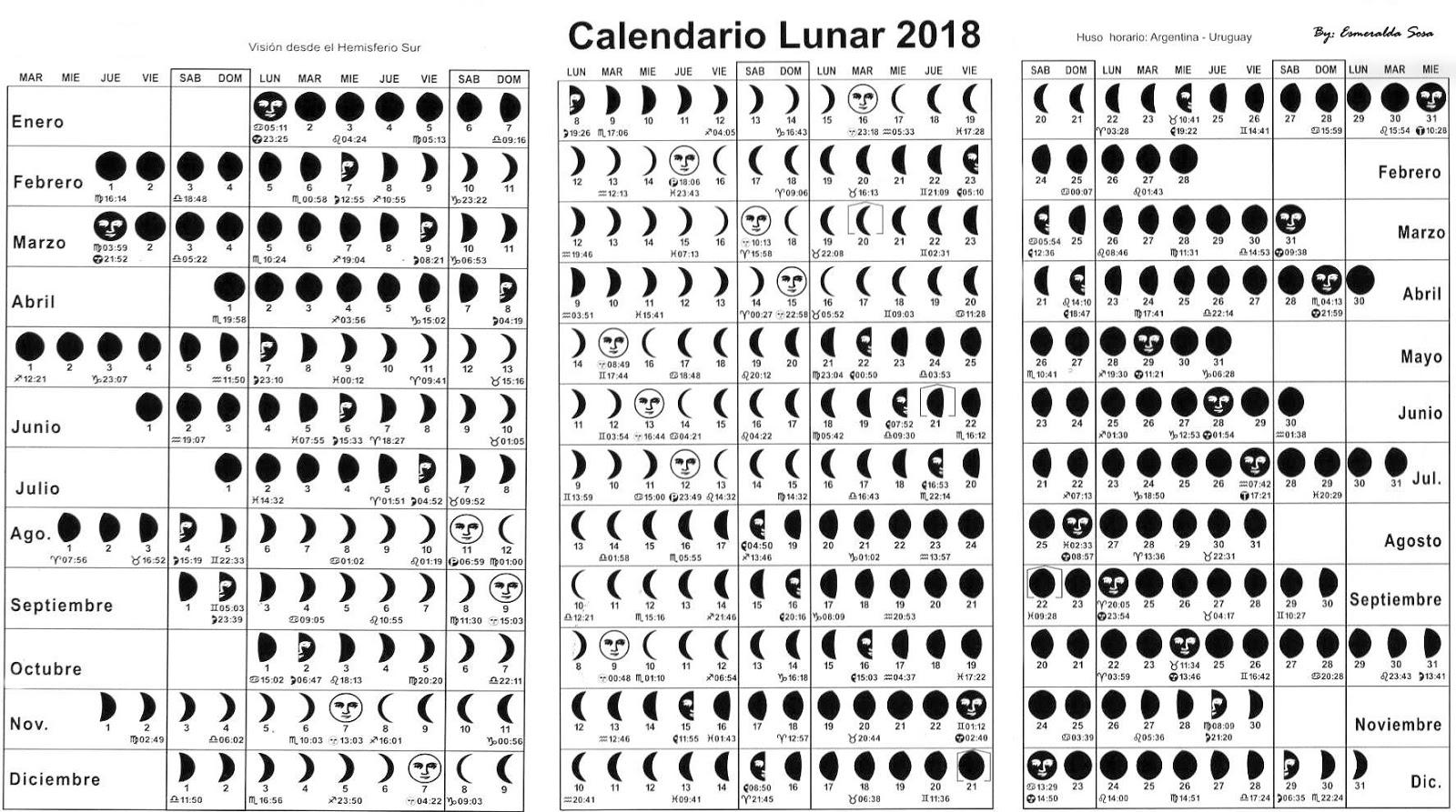 Calendario lunar 2017 e 2018 kalentri 2018 for Almanaque lunar 2017